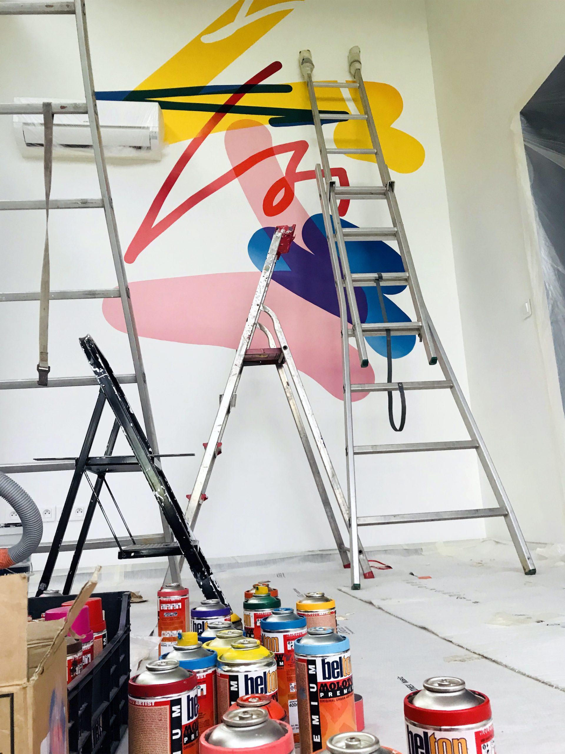 decoration interieur fresque contemporaine design graphique moderne