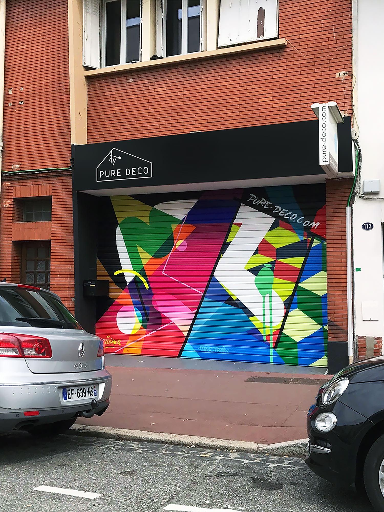 graffeur rideau metallique graffiti decoration decorateur artiste peintre toulouse pure deco