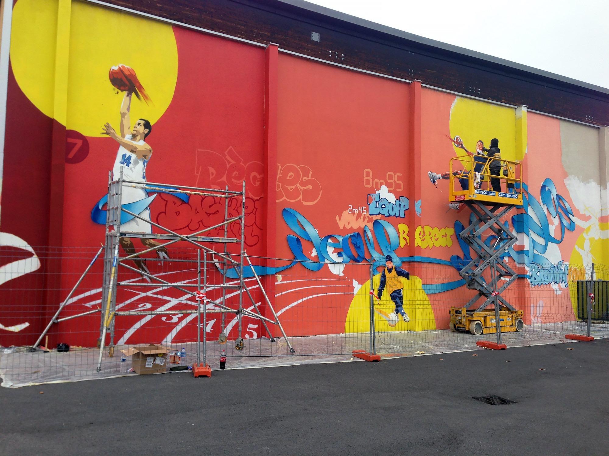 fresque gymnase sport toulouse artiste graffeur