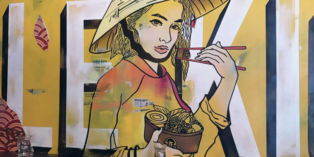 le kiosque decoration fresque restaurant japanese vietnamien vintage mural ancienne