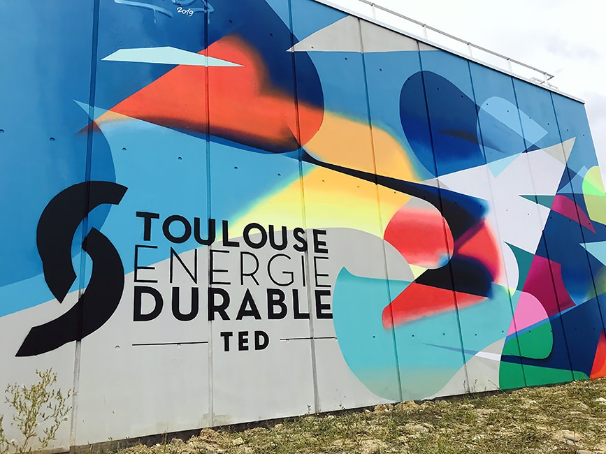 Decoration murale fresque artistique toulouse energie durable dalkia chaufferie montaudran