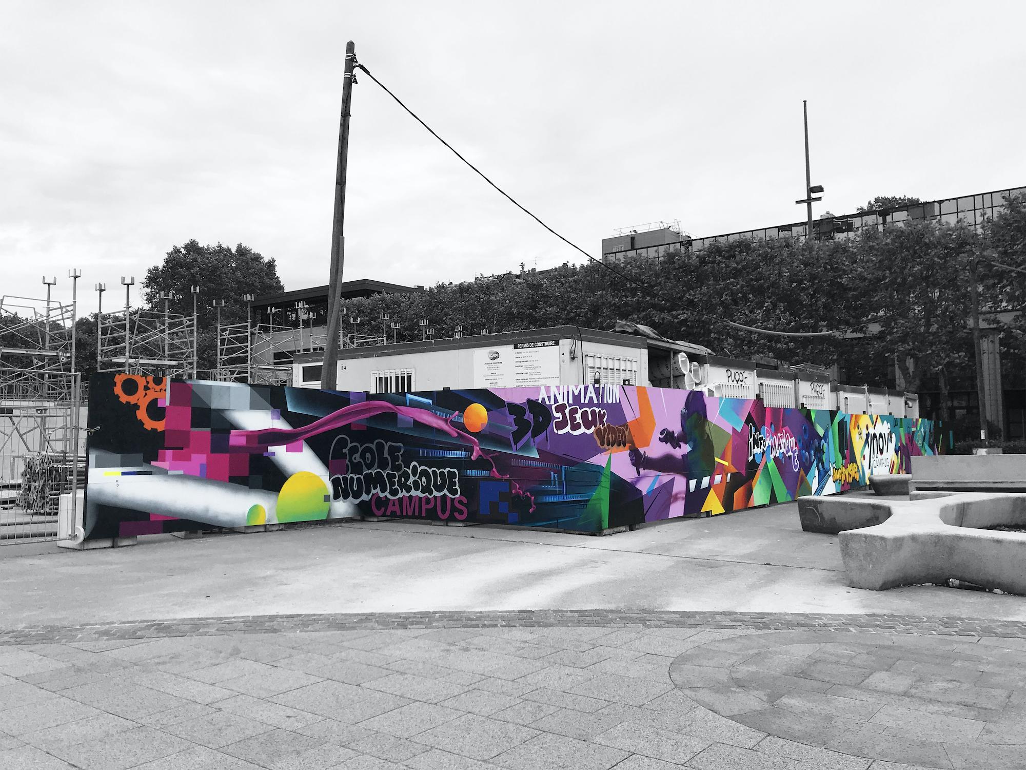Fresque ynov numerique graffiti graff toulouse graffeur