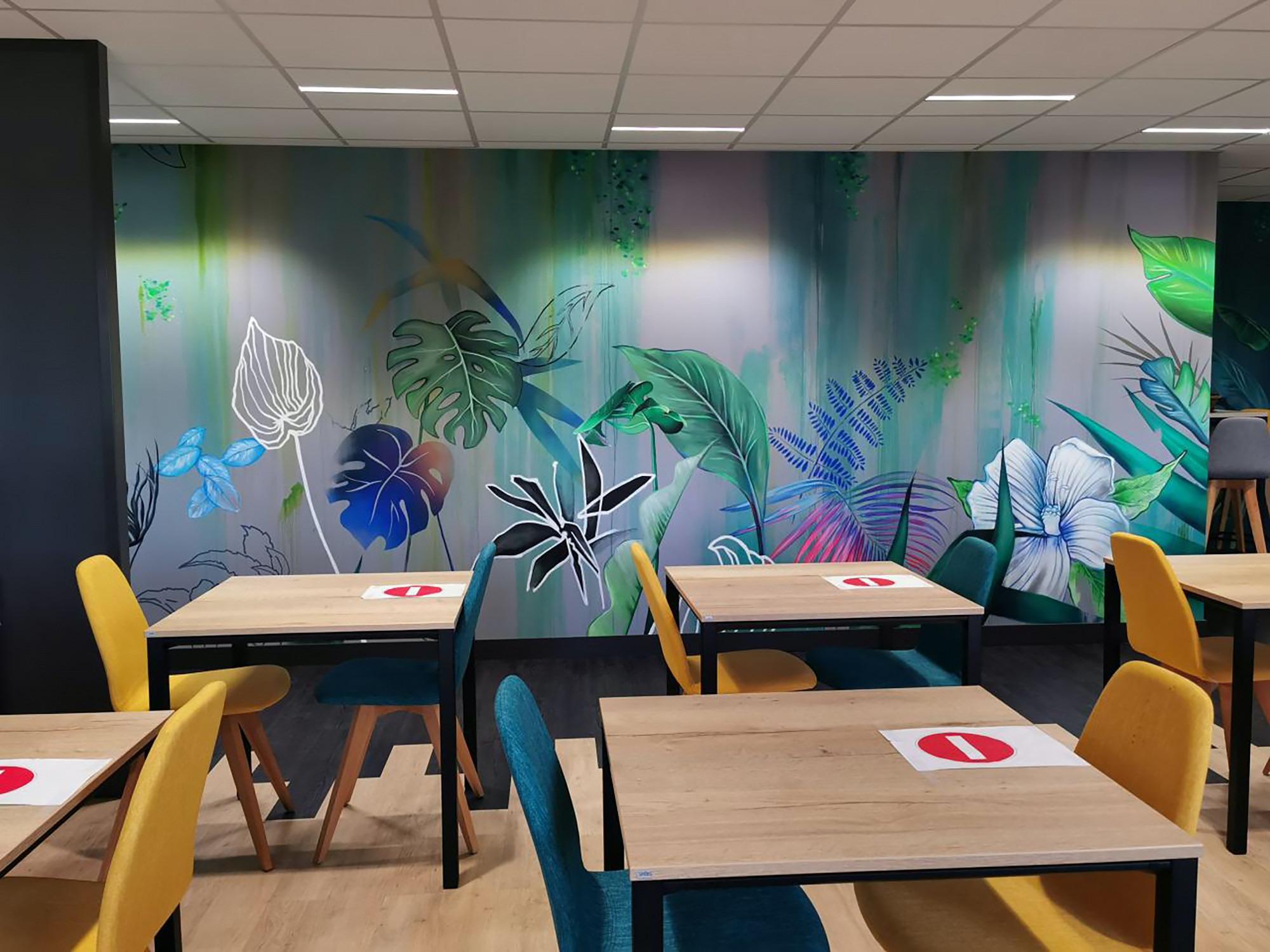 fresque decoration vegetal peinture murale artiste graffeur toulouse halltimes julien avignon