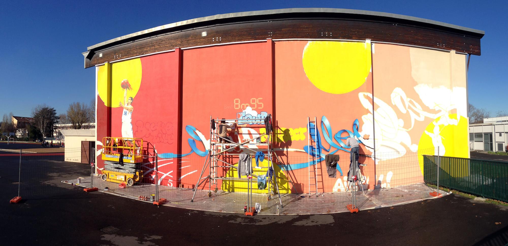 fresque sport graphicwall graffiti decoration artistique