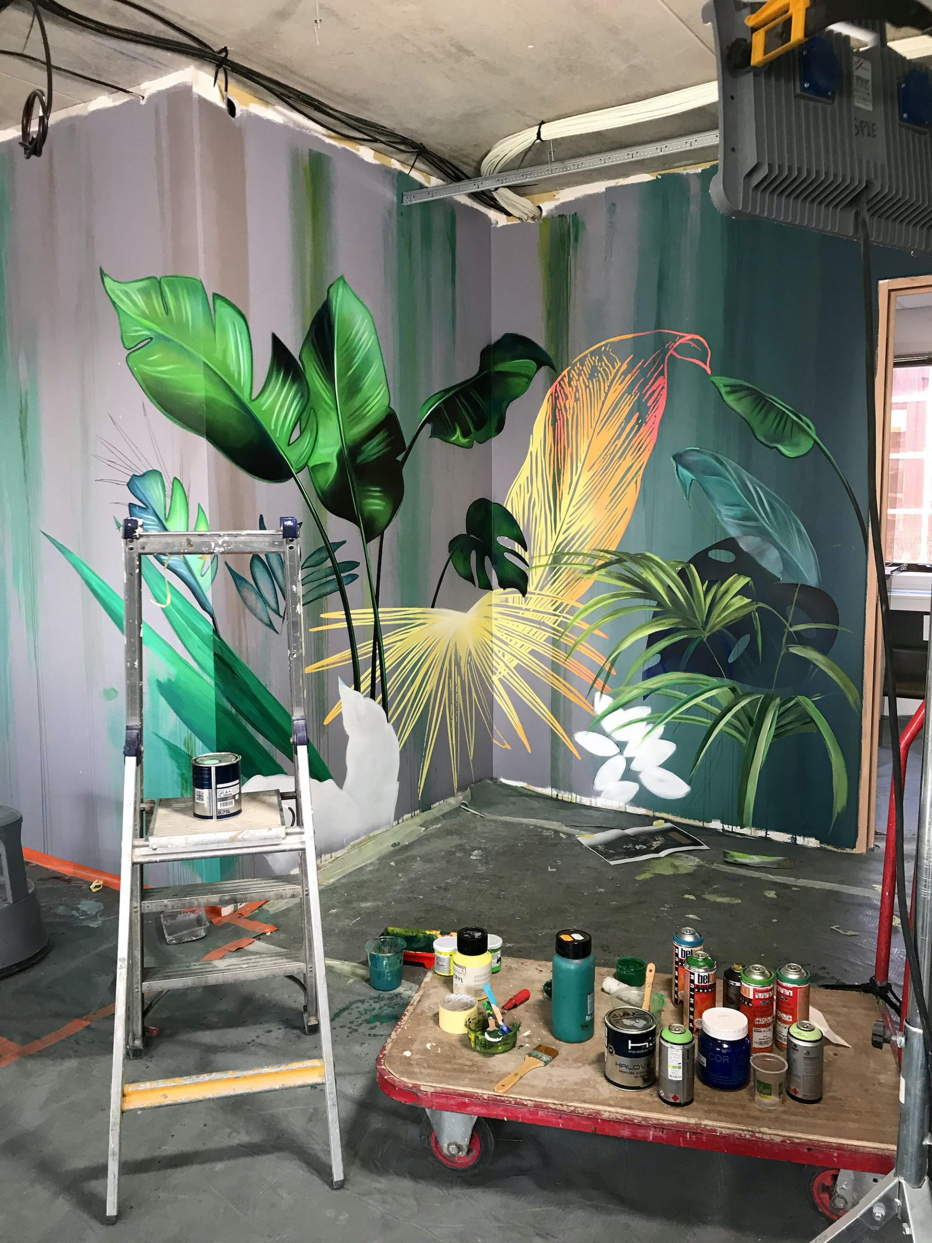 fresque decoration vegetal peinture murale artiste graffeur toulouse