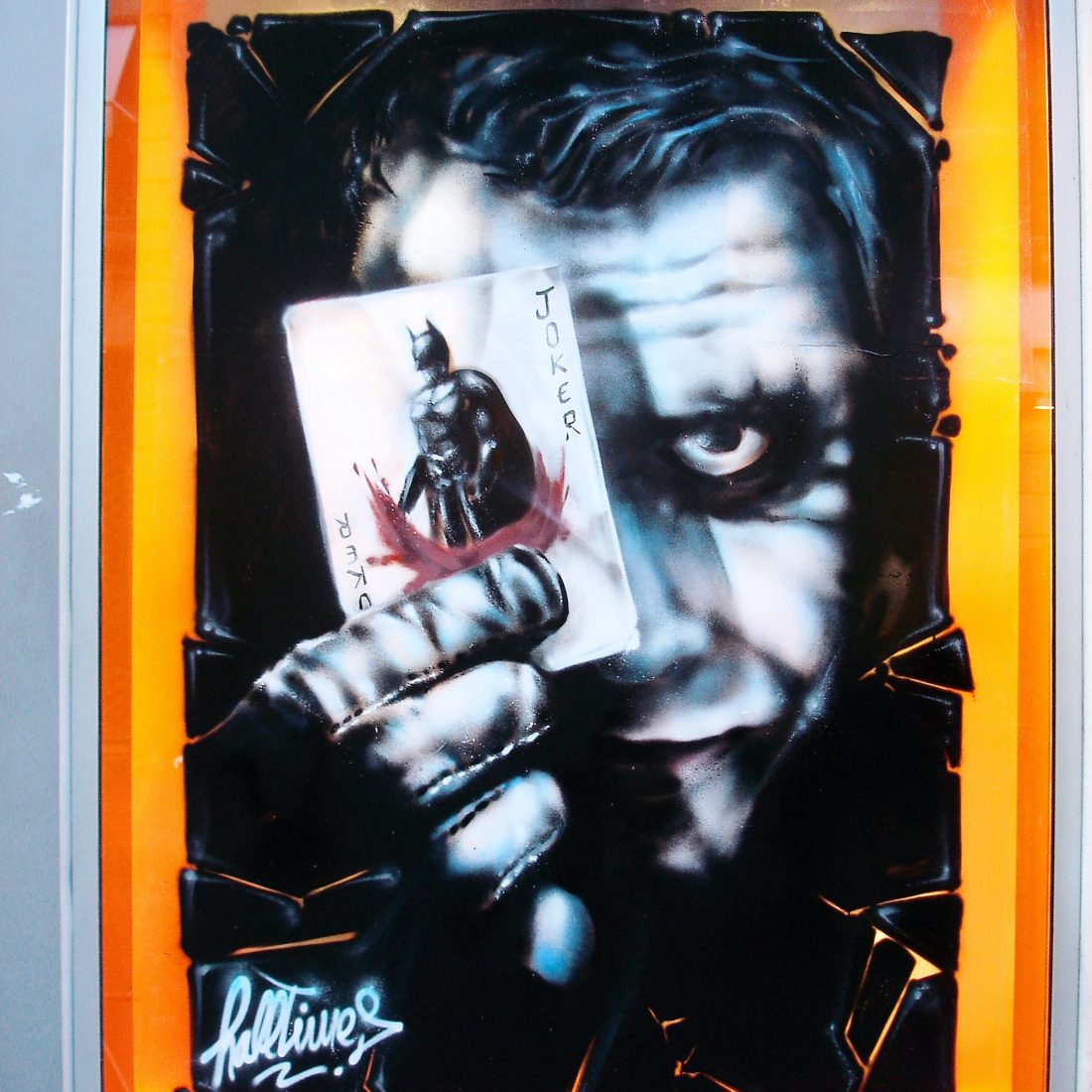 graffiti vitrine decoration Joker graffeur bordeaux
