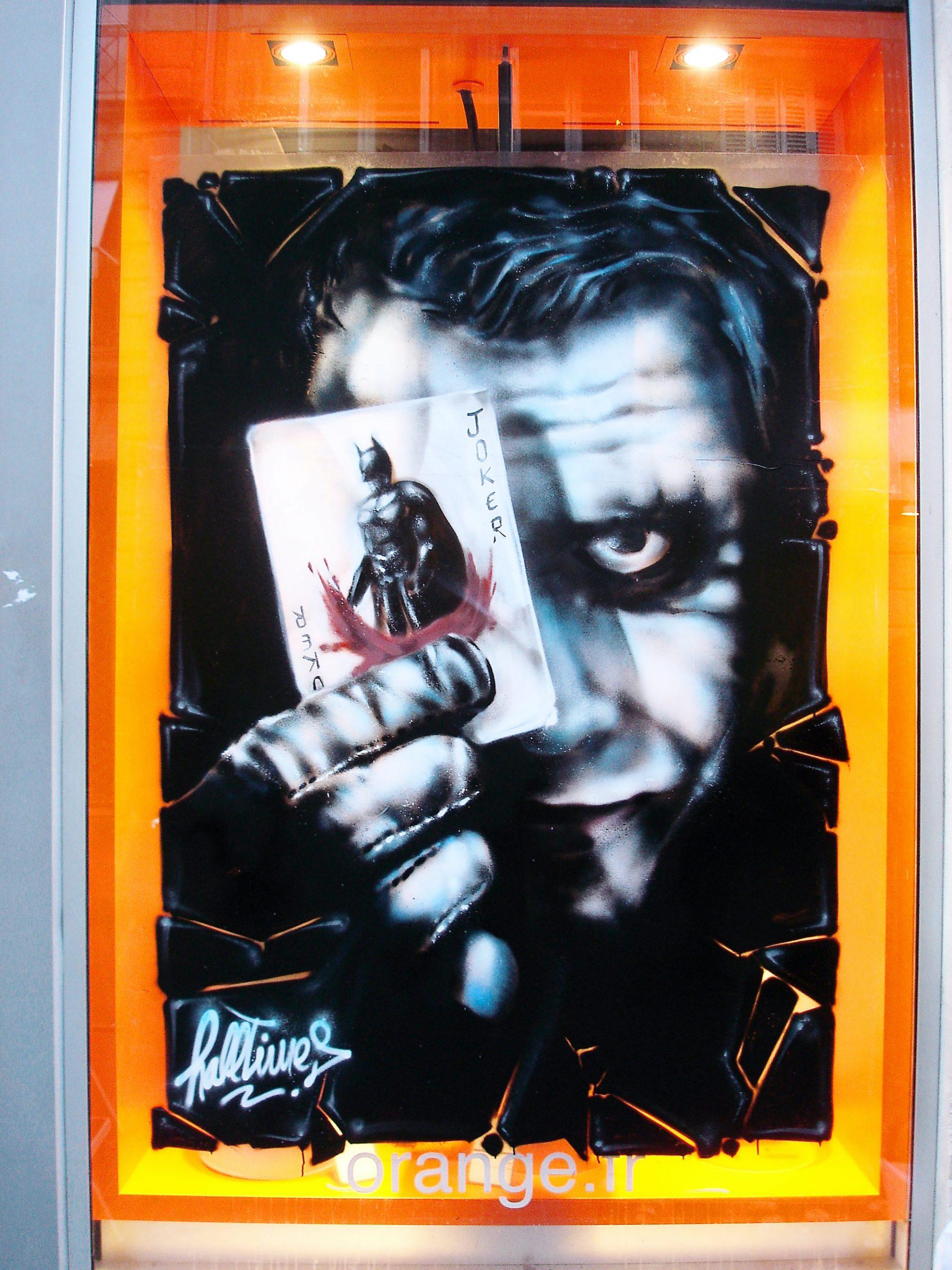 graffiti vitrine decoration Joker graffeur bordeaux