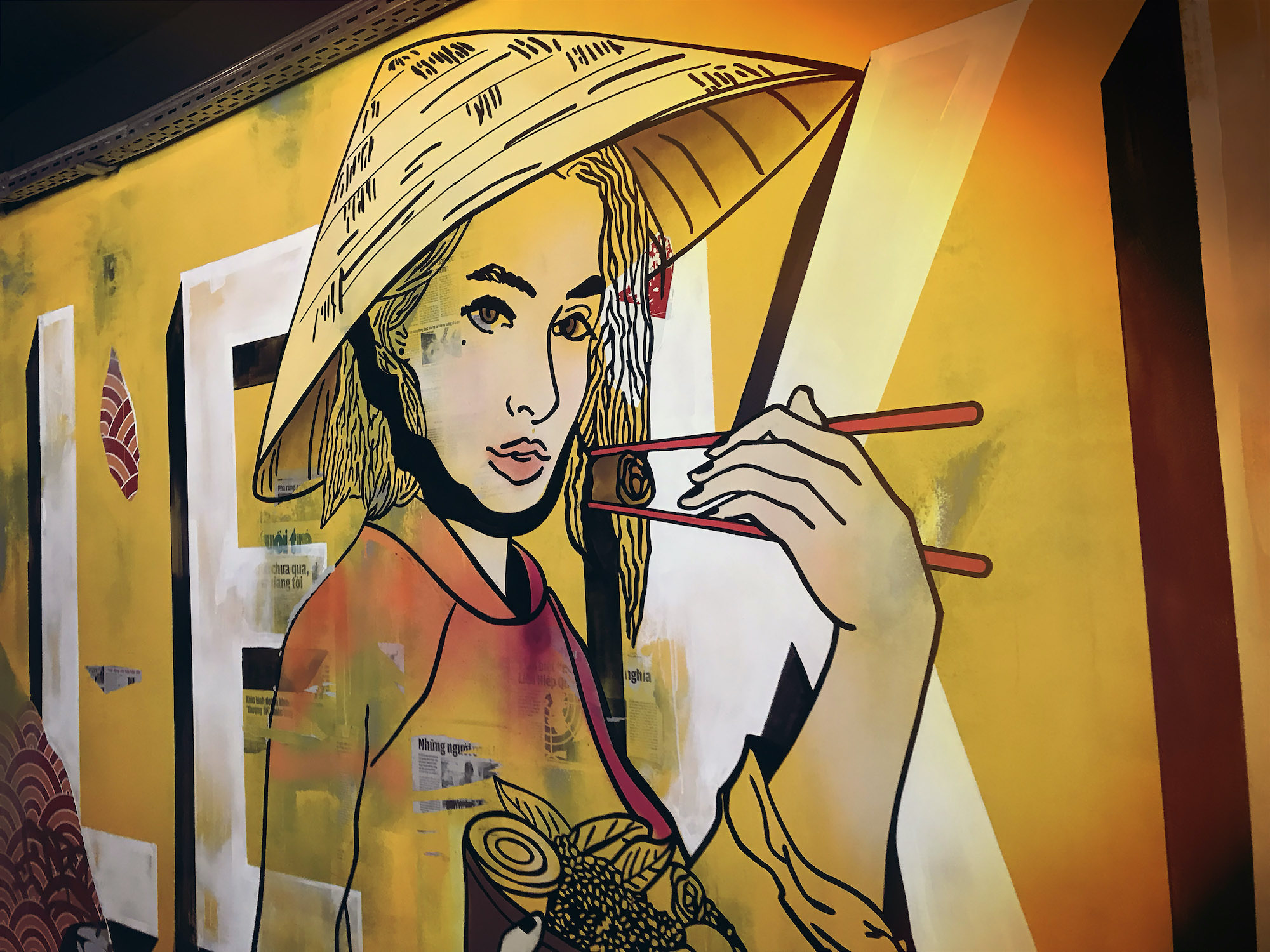 street food fresque vietnamese art dessin wall mural