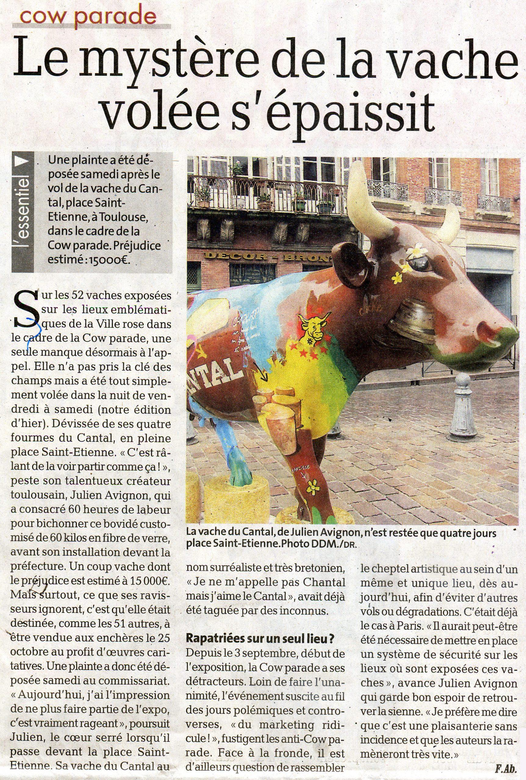 Article presseDDM vache volée