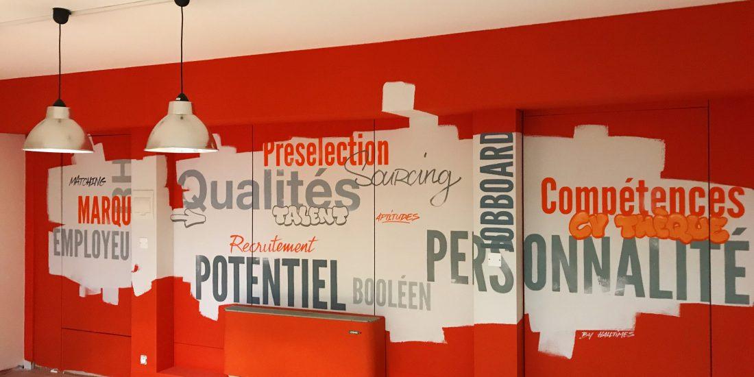 salle reunion fresque graff mots creativité qualités valeurs fresque decoration murale peintre toulouse