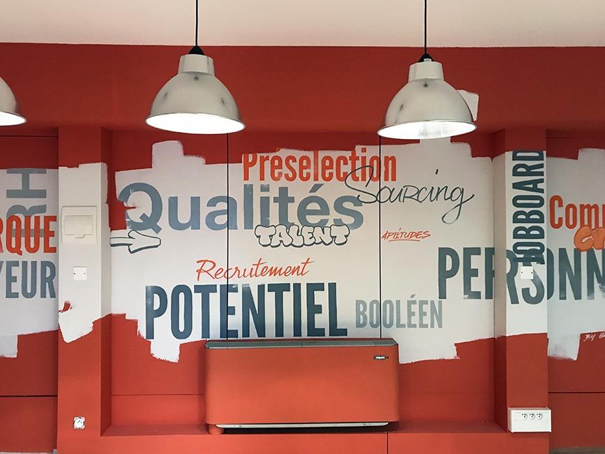 decoration mots fresque creativité coworking potenciel entreprise peinture murale graffeur artiste peintre toulouse