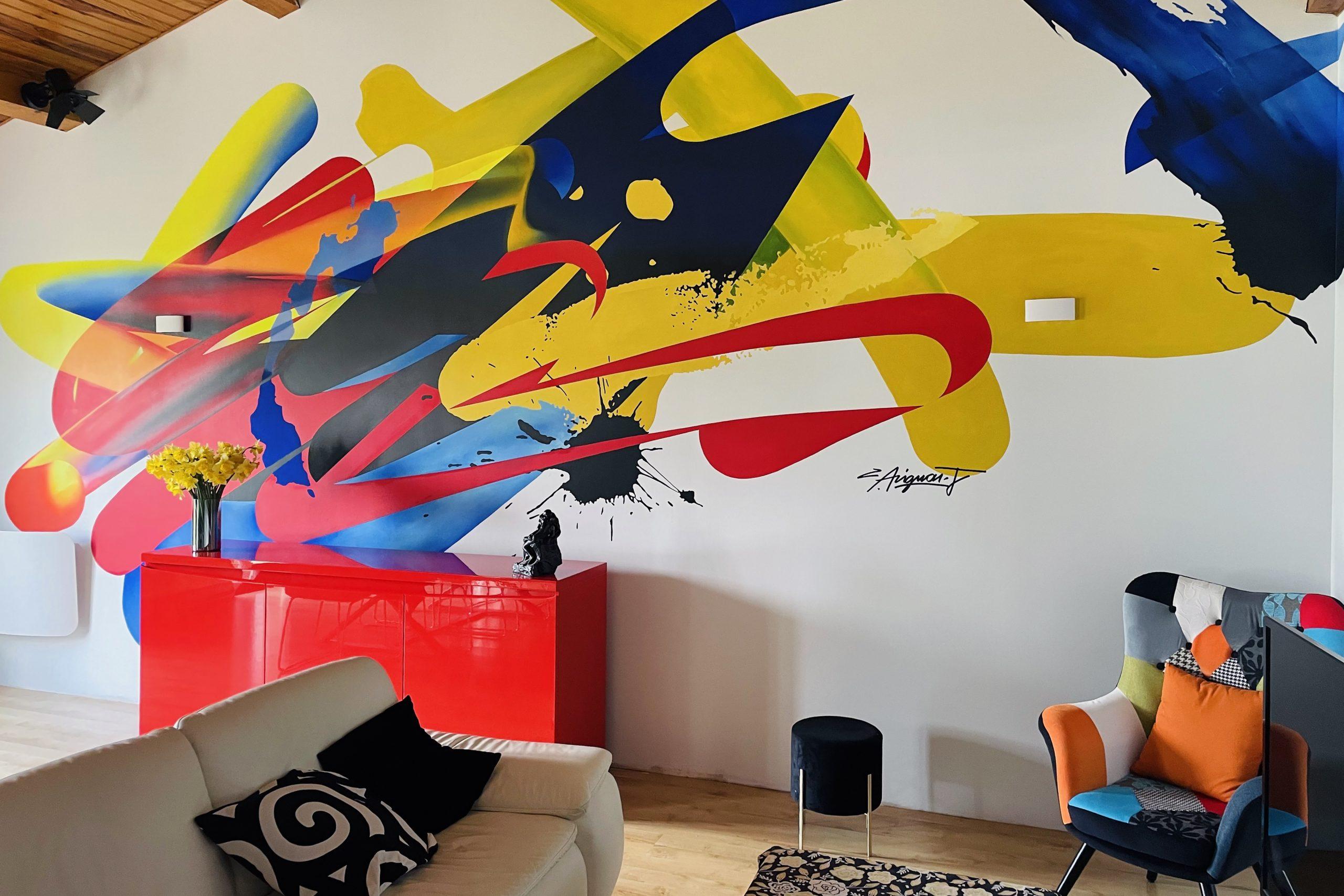 fresque moderne abstraite deco design couleur
