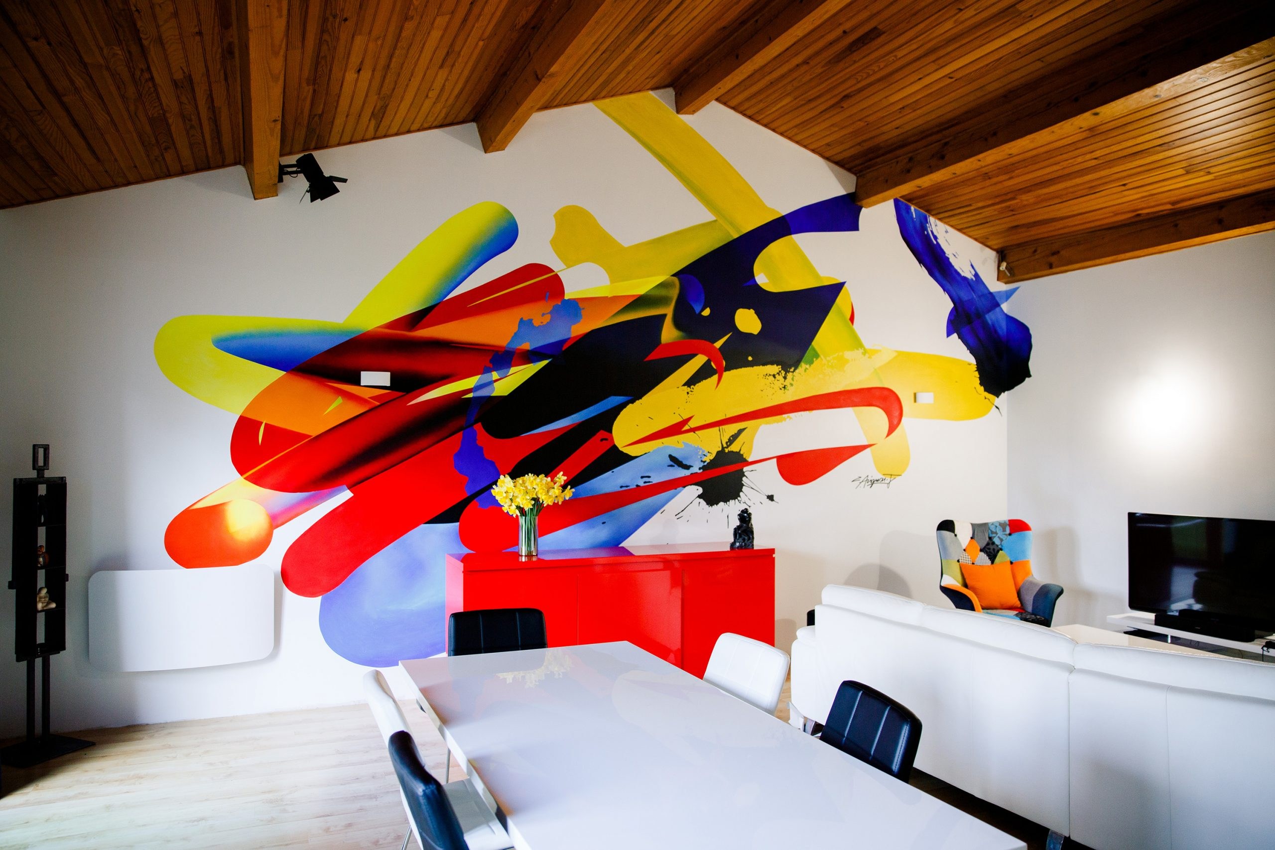 design mural abstrait interieur